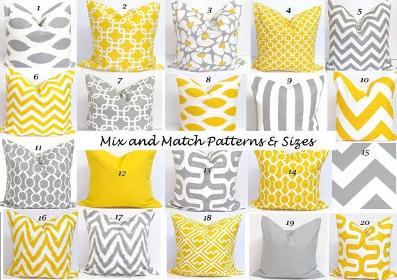 Gray and Yellow Pillows from ElemenOPillows