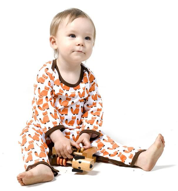 Sture & Lisa Organic jumpsuit - Foxes Retro Baby Clothes - Baby Boy clothes - Danish Baby Clothes - Smafolk - Toddler clothing - Baby Clothing - Baby clothes Online