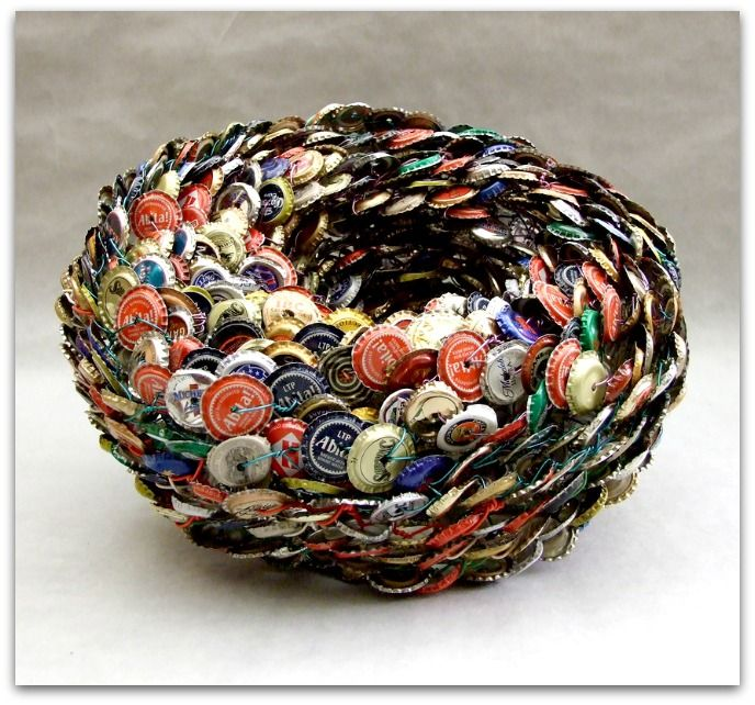Upcycle file trash transformed as vessels upcycled art for Can beer bottle caps be recycled