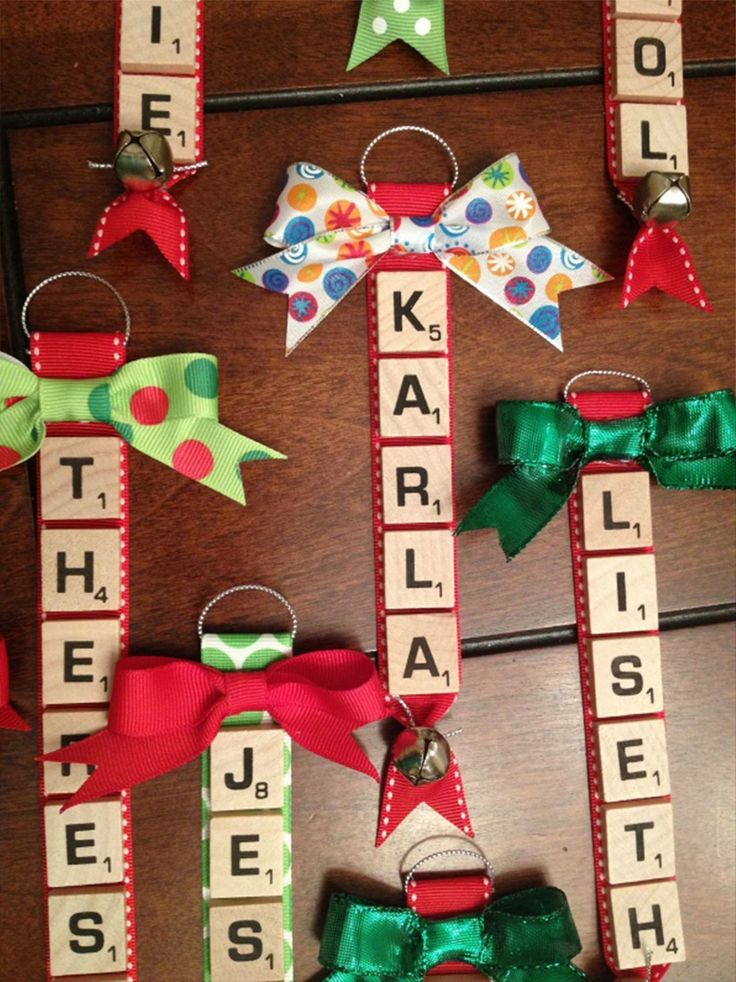 Scrabble tile name tag ornaments. (Christmas, ribbon, bells, bows)