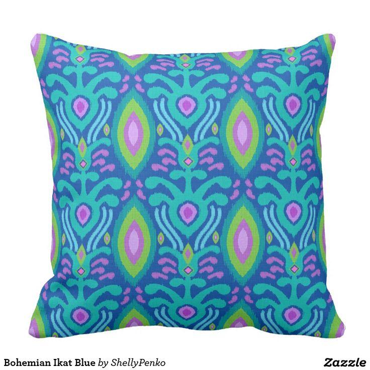 Blue And Black Pillows Part - 34: Bohemian Ikat Blue Throw Pillow