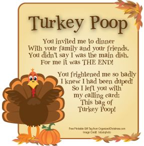 Well, theres Reindeer Poop, Snowman Poop, Ghost Poop and now I've found the Turkey Poop Recipe.  I thought this was so cute.  Just fill a sandwich bag with milk duds or chocolate covered raisins or brown jelly beans.  Print out the poem and attach it to the bag.