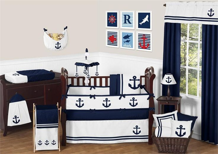 Anchors Away Crib Bedding Set - Nautical Themed Boys Crib Bedding - Sweet Jojo Designs - http://www.childrensbeddingboutique.com/anchors-away-crib-bedding-set.aspx