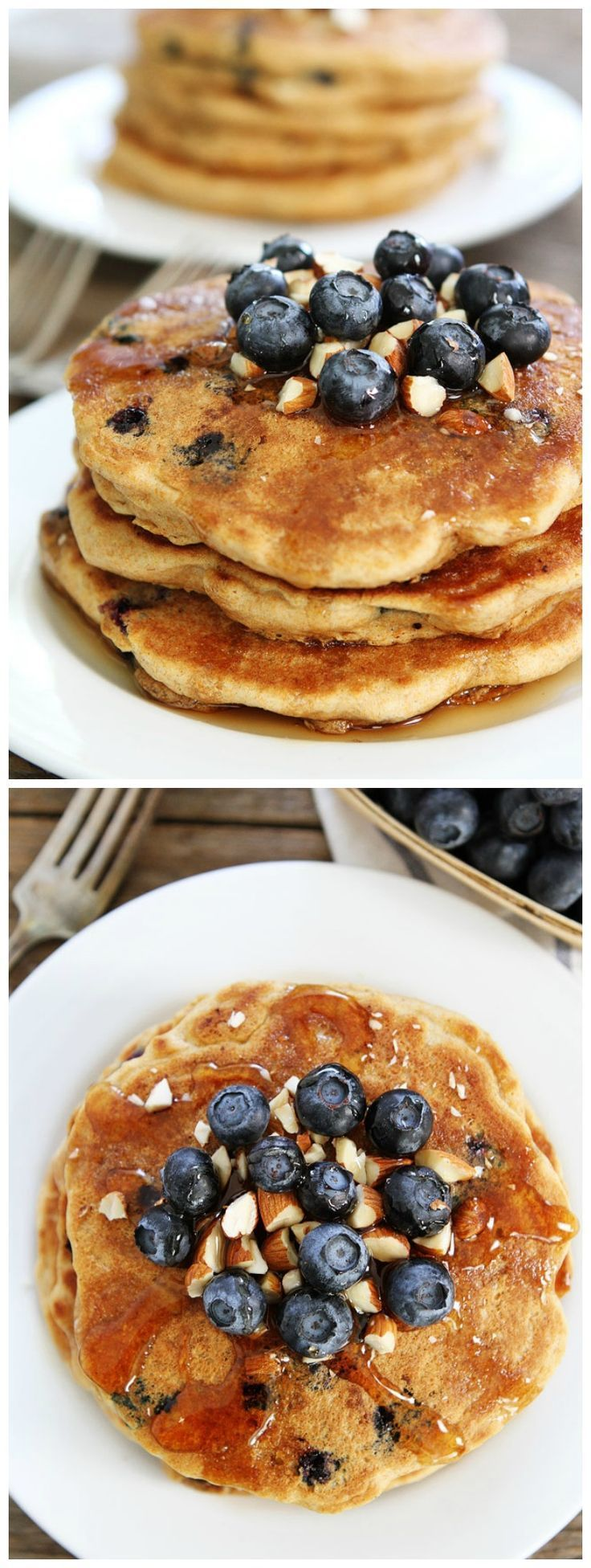 Blueberry Almond Pancake Recipe - Whole wheat pancakes with blueberries and almonds. A great way to start the day!