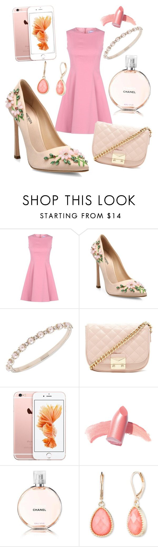 """""""pink"""" by hesterstan ❤ liked on Polyvore featuring RED Valentino, Giambattista Valli, Marchesa, Forever 21, Elizabeth Arden, Chanel and Vintage America"""