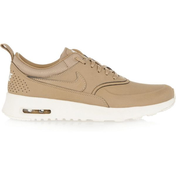 Nike Air Max Thea leather sneakers ($145) ❤ liked on Polyvore featuring shoes, sneakers, nike, lacing sneakers, nike footwear, camo sneakers and brown leather sneakers