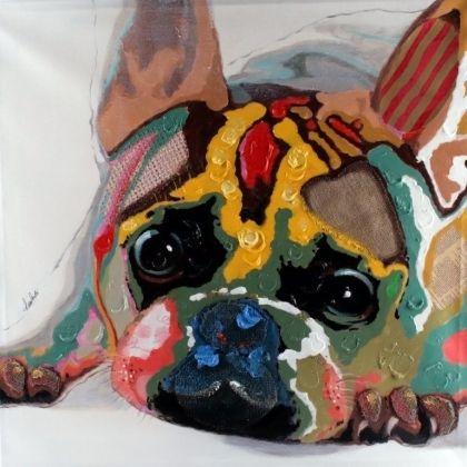 Obraz Barevný buldoček, 80x80 cm, olej na plátně - 1 2900,-