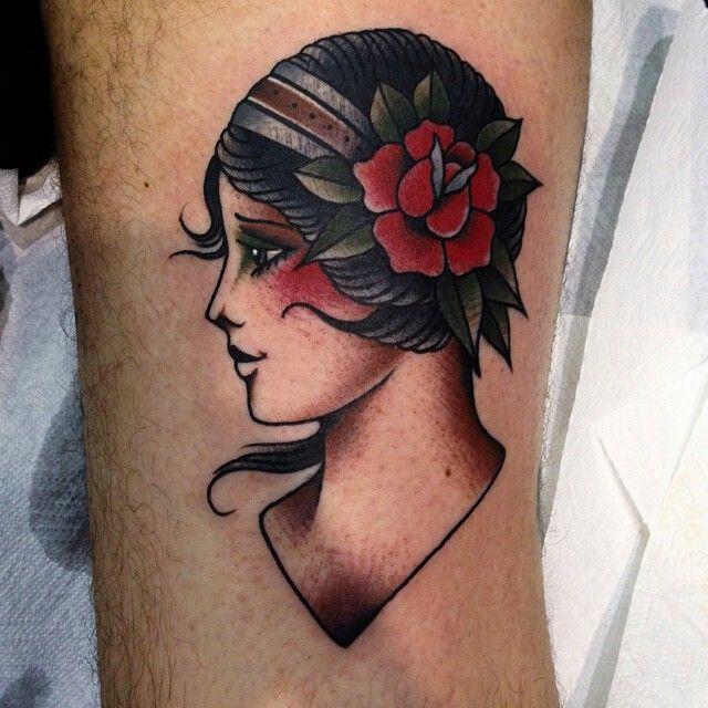 Old school tattoo girl rose beautiful