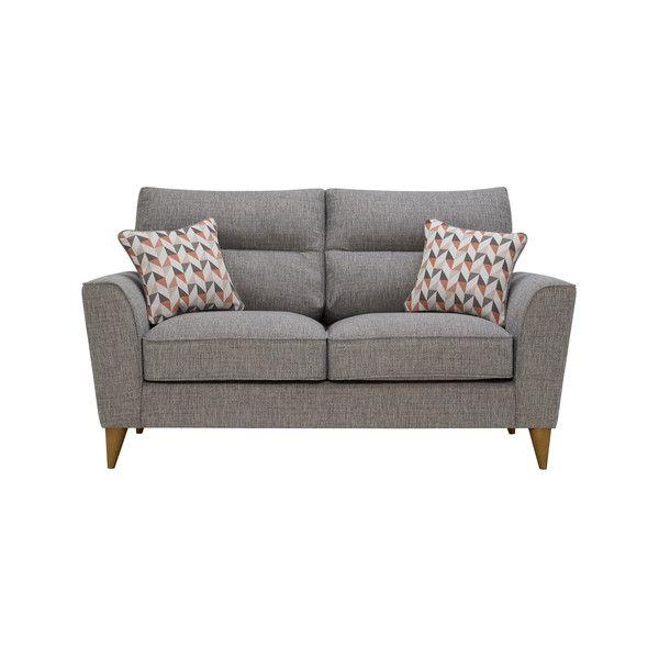 Jensen Silver 2 Seater Sofa With Coral Accent Sofa Black Fabric Sofa 2 Seater Sofa