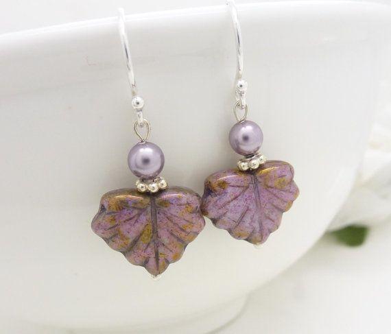 Purple earrings, Czech glass purple leaf earrings, Beaded jewelry, sterling silver maple leaf earrings, Lavender purple jewelry via Etsy