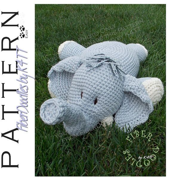 INSTANT DOWNLOAD : Pillow Pal Elephant Crochet Pattern                                                                                                                                                                                 More