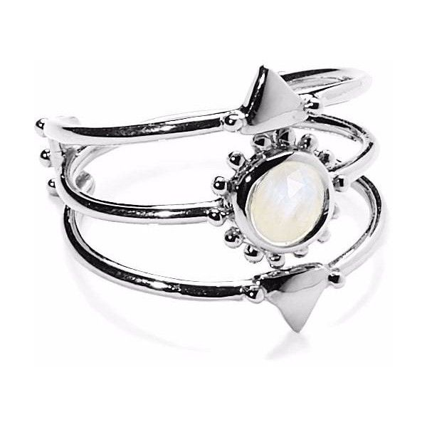 Agnes de Verneuil  - Silver Three Band Ring Sun & Stone Rainbow... (6.905 RUB) ❤ liked on Polyvore featuring jewelry, rings, gold and silver rings, beads jewellery, stone jewelry, rainbow moonstone ring and band rings