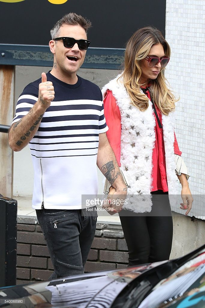 Robbie Williams and Ayda Field seen leaving the ITV Studios after she appeared on Loose Women on June 14, 2016 in London, England.