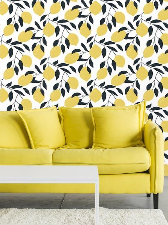 Peel And Stick Lemons Wallpaper Yellow Removable Self Adhesive Vinyl Wall Paper Custom Temporary Wal In 2021 Temporary Wallpaper Vinyl Wall Traditional Wallpaper