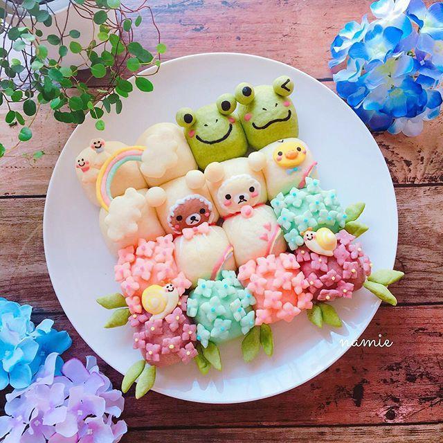 2017.5.22 . 紫陽花とカエル☂️&てるてる坊主のリラックマとコリラックマのちぎりパン(てるてる坊主に見えないけど) . 微妙に顔失敗しましたリースバージョンも作りたいなぁ✨ . . #korilakkuma #rilakkuma #bread #baking #breakfast #cooking #foodporn #foodart #foodpics #instafood #yummy #kawaii #homemade #リラックマ #コリラックマ #ちぎりパン #パン #デコパン #キャラパン #キャラフード #朝ご飯 #朝ごパン #手作りパン #おうちパン #おうちカフェ #おうちご飯 #デリスタグラマー #クッキングラム #おやつ #手作りおやつ