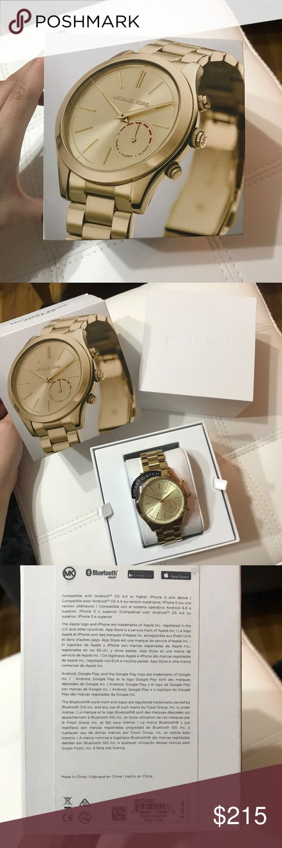 Michael Kors Slim Runway Gold Hybrid Smartwatch Michael Kors wearable technology, a trendy hybrid smart watch that will still keep you connected! Details: Brand new, never worn  Compatible with iPhone and Android 42mm case  Auto update time and date  Filtered notifications  Built in activity tracker  No charging necessary  Water resistant up to 3ATM or 30 meters  Adjustable metal band Michael Kors Accessories Watches