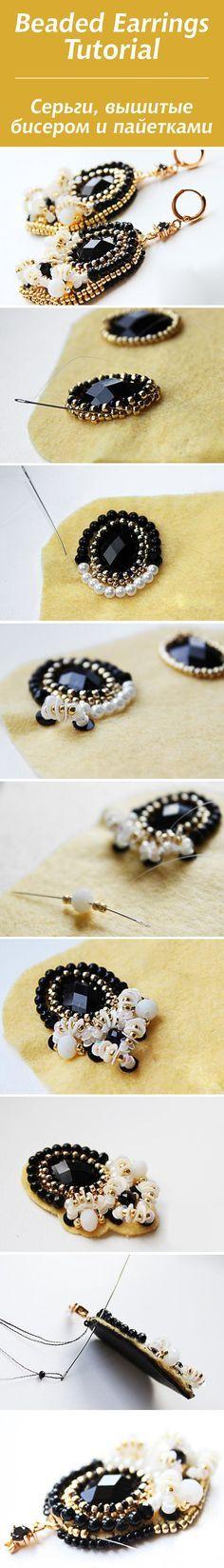 Beaded Earrings Tutorial / Вышитые бисером и пайетками серьги #beadwork