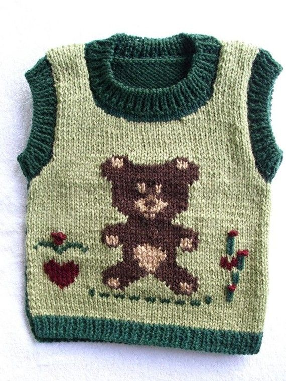 Toddler   vest / sweater   Size 2T   3T  Teddy by MarikaHandKnits