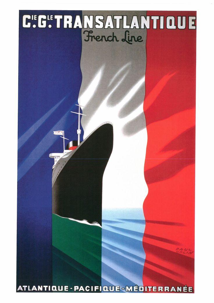 162. PAUL COLIN (1892-1985) Cie. Gle. Transatlantique. French Line. Atlantique·Pacifique-Méditerranée (Cie. Gle. Transatlantique. French Line. Atlántico·Pacifico-Mediterréneo), 1935