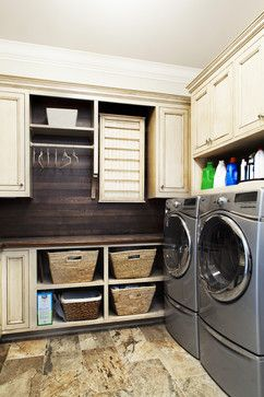 Laundry Room Laundry Room Ideas Room Like The Idea Of Baskets Lower, Closed  Cabinets Higher   Love The Dark Wood Wall/backsplash With The Ivory Cabinets .