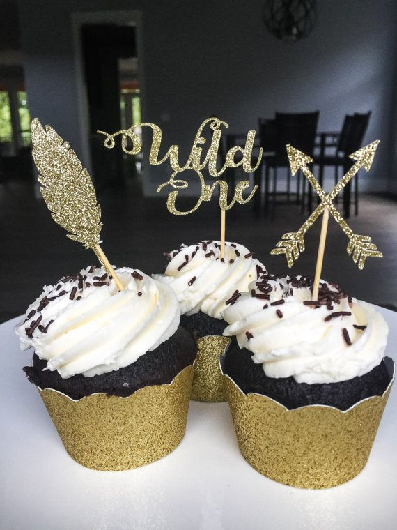 Wild One Cupcake Toppers  Tribal Cupcake Topper  by ShayloAndLolli