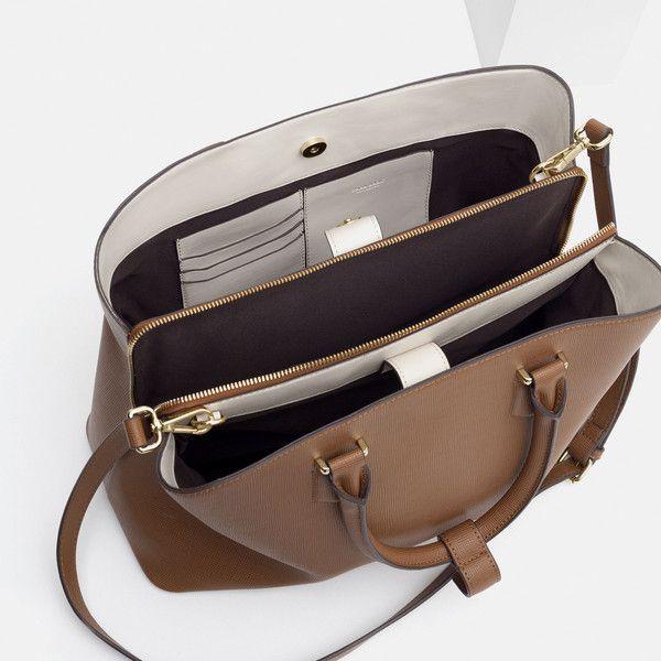 Zara Office City Bag (1 835 UAH) ❤ liked on Polyvore featuring bags, handbags, brown handbags, brown purse, brown bag, zara bags and city bag