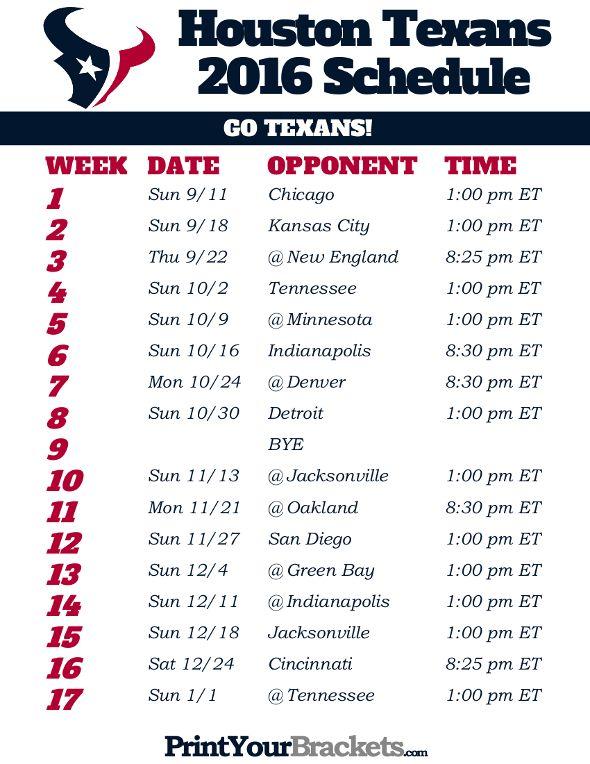 Printable Houston Texans Football Schedule