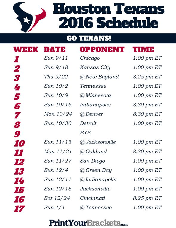 Houston Texans Schedule - 2016