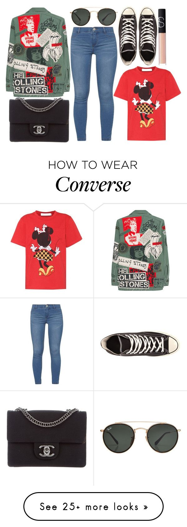 """""""street style"""" by sisaez on Polyvore featuring MadeWorn, Dorothy Perkins, Chanel, Ray-Ban, Victoria Beckham, NARS Cosmetics and Converse"""