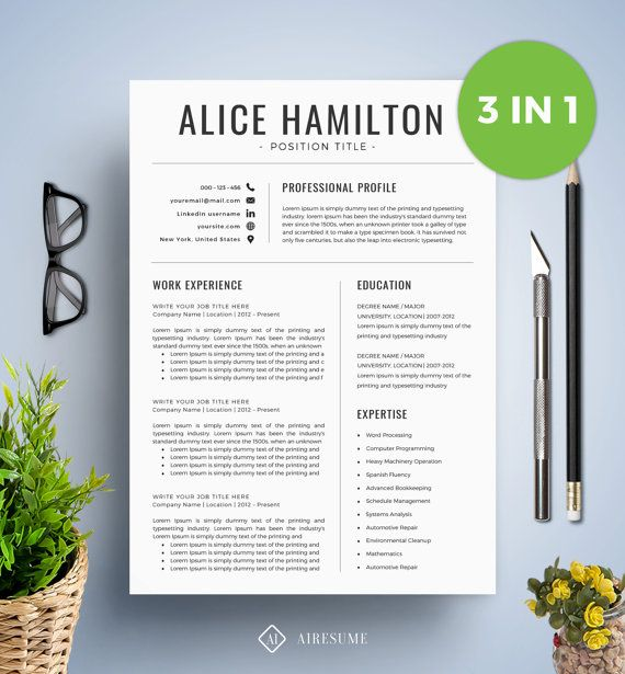 SALE Resume Template With Photo / CV Template + Cover Letter | Instant Download | Teacher Resume | Professional and Creative Resume Template