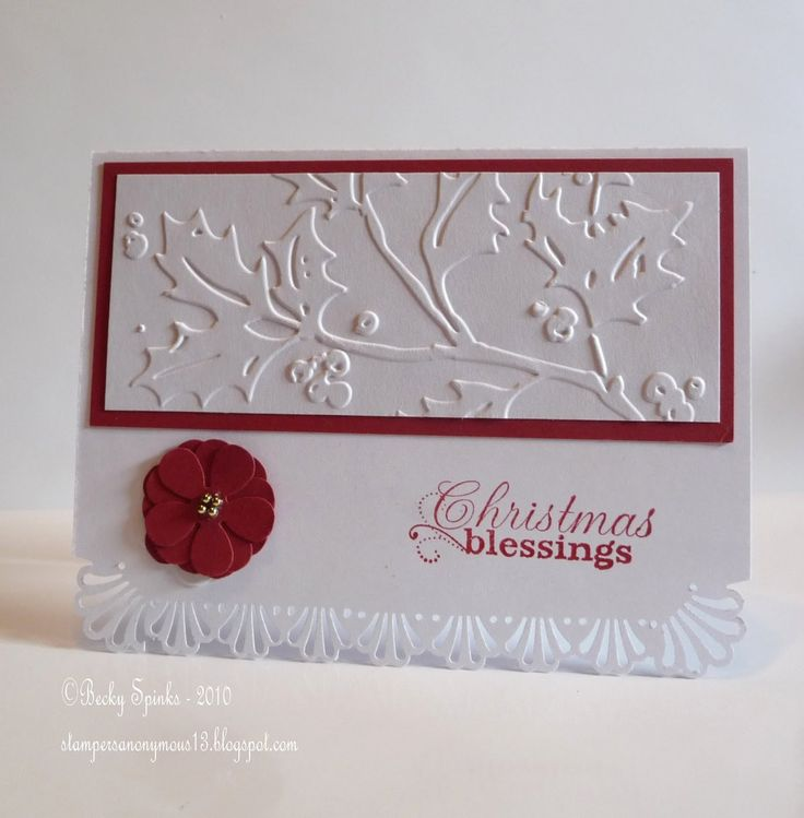 Christmas blessings - I like the simplicity of the white embossed image on the red.