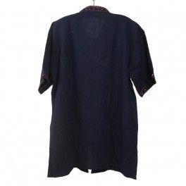 Thai Baumwollhemd zum Zuknöpfen blau Size L