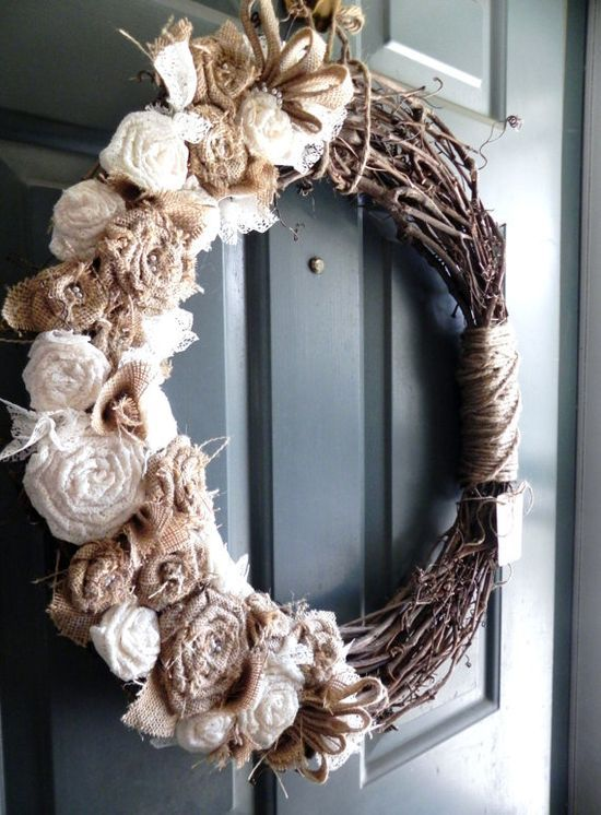 Burlap Grapevine Wreath - Burlap Roses, Pearls, and Ivory Lace - Rustic Wedding Decoration Wedding Wreath Alter