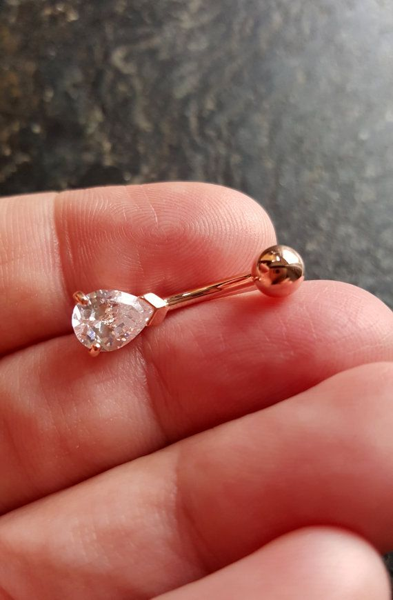 Navel body jewelry belly ring rose gold https://www.etsy.com/listing/260162080/preorder-rose-gold-crystal-teardrop-14g