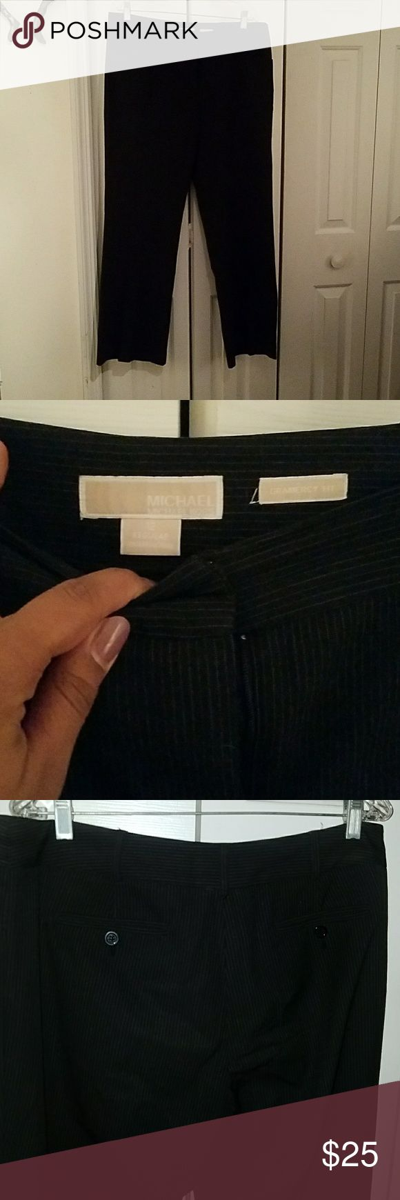 Michael Kors Pinstripe pants Gramercy fit, 4 pocket pants. A little spandex but mostly fitted. See measurements. Black with thin white pinstripes. Michael Kors Pants Trousers