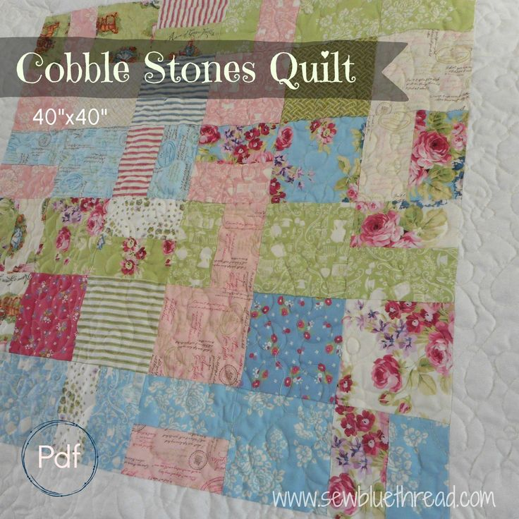 """Cobble Stones Quilt pdf pattern.   Quilt measures 40""""x40"""".  Easy to stitch quilt.  Great rug for baby, housewarming or wallhanging."""