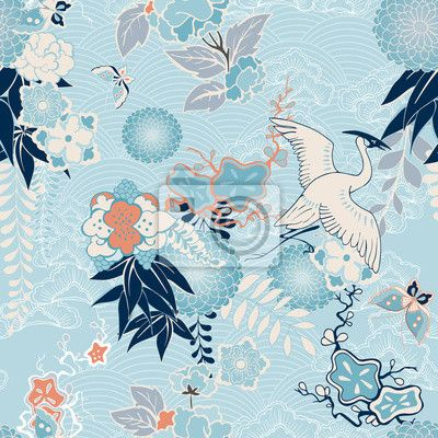 Fotobehang Kimono achtergrond met kraan en bloemen