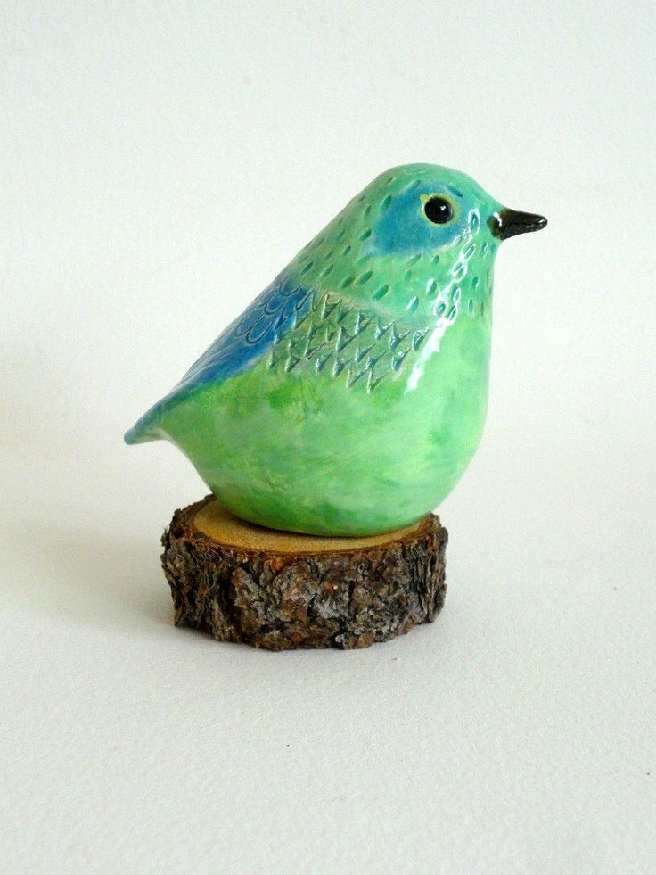 Hand-glazed clay pottery bird sculpture from New Mexico (via Etsy) || blue, green, teal