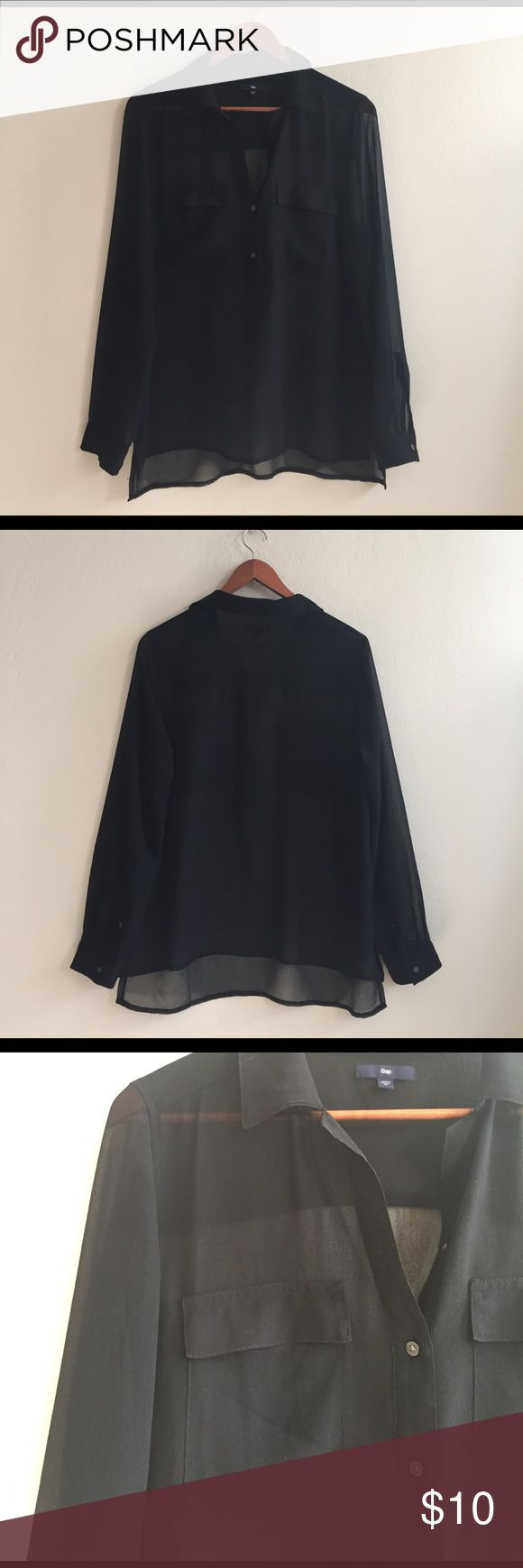 GAP Sheer black blouse Gently loved! Price reflects wear. Polyester blouse by GAP. Asymmetrical hem. Super cute with ripped jeans and flats! GAP Tops Blouses