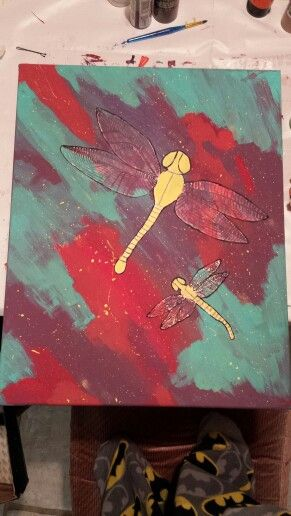 Abstract dragonflies for my mom. I really like the colours.