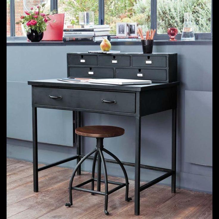 escritorio industrial secreter de metal negro efecto envejecido an cm edison maisons du