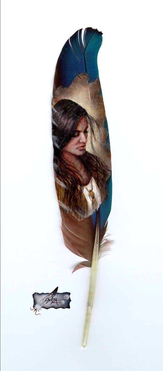 Maiden Native American Indian feather painting print by by 2ndMoon