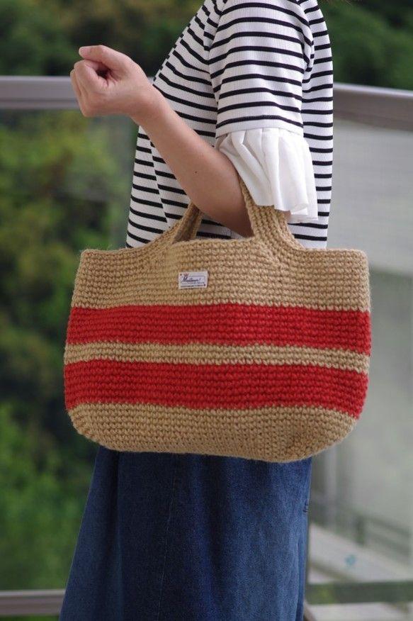 かごバッグ(ベージュ×赤L)受注製作|かごバッグ|amitiku|ハンドメイド通販・販売のCreema