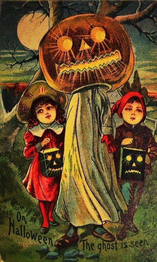 A pumpkin man leading kids to their death… | 13 Odd And Disturbing Vintage Halloween Postcards