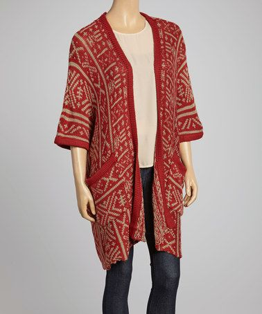 Red & Taupe Tribal Wool-Blend Oversize Cardigan by Caibae #zulily #zulilyfinds