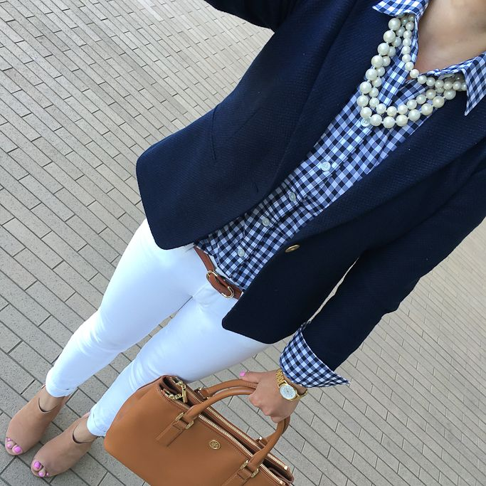 Petite gingham shirt, navy textured blazer, white jeans, Claara block heel sandals, Mini Robinson tote, pearl necklace, Fall fashion, petite outfits, business casual outfit - click the photo for outfit details!