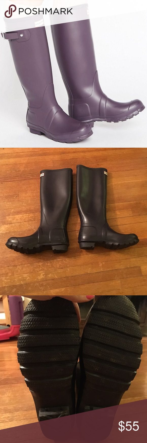 Hunter original tall Wellington-purple ocean Size 7. Only worn a few times. Dark purple color with matte finish. Great condition! Hunter Boots Shoes Winter & Rain Boots