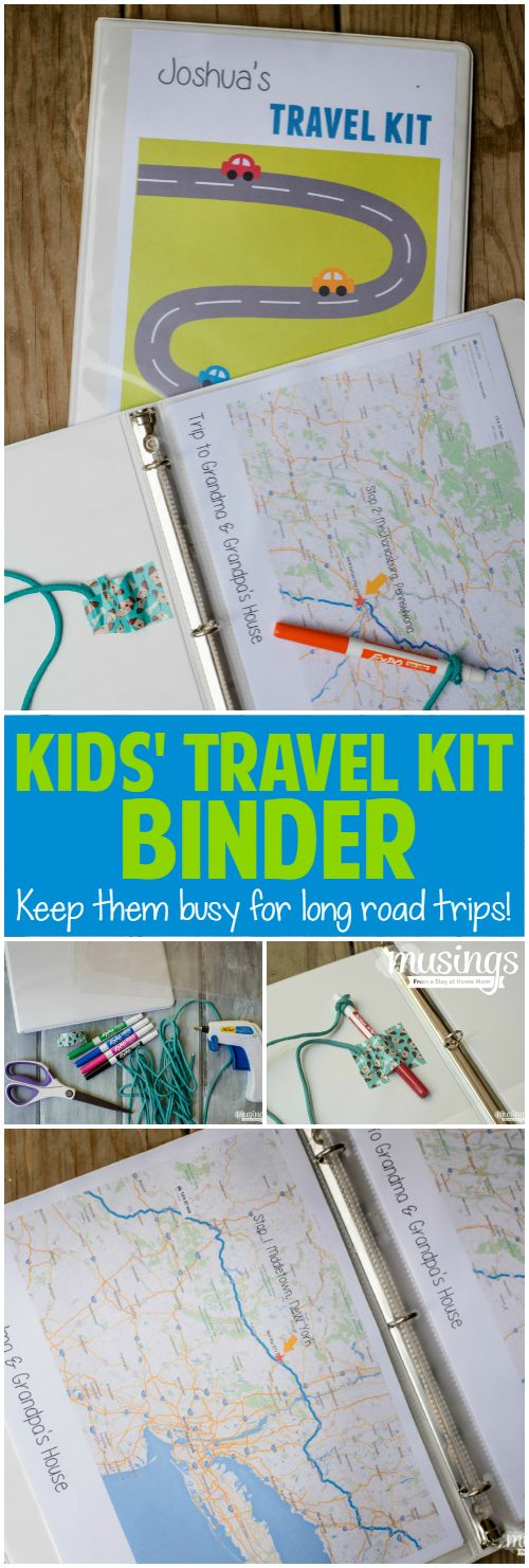 How to make a simple Kids Travel Kit Binder that will keep them busy and happy with fun activities for long road trips. Includes an attached marker and holder, plus 150+ free printable kids travel activities!