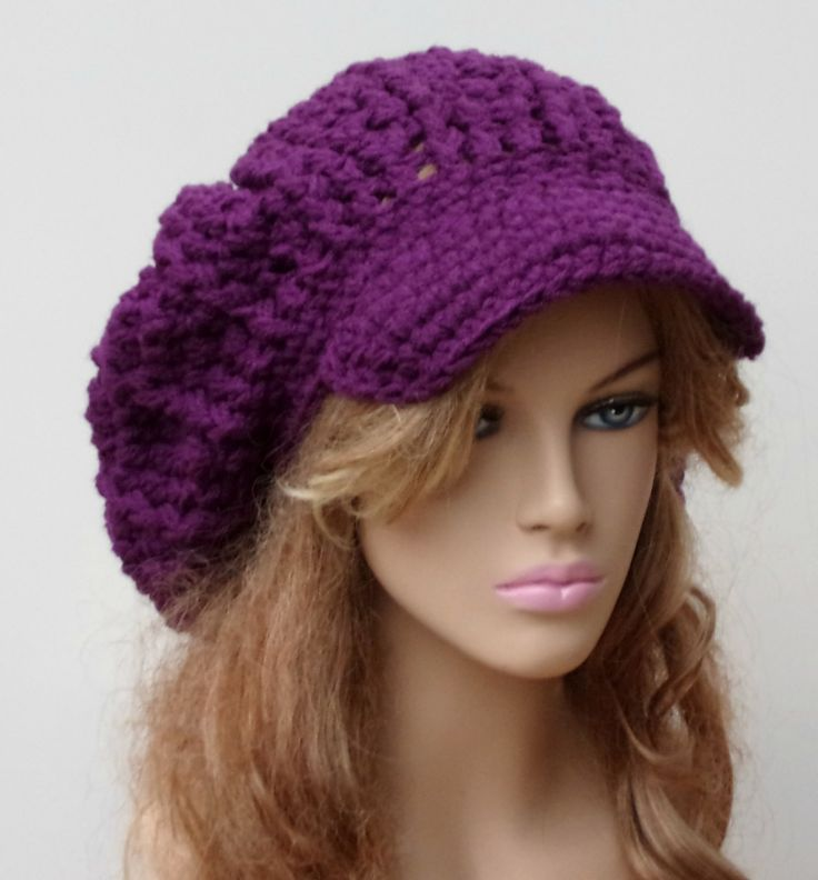 Dark Orchid Slouchy Newsboy Visor Dread Tam Hipster brimmed beanie Hat purple