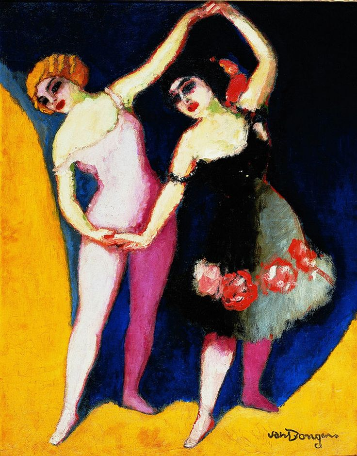books0977:  The Dancers Revel and Coco (c.1909-1910).Kees van Dongen (Dutch, Fauvism, 1877-1968). Oil on canvas. Shows van Dongen's style e...